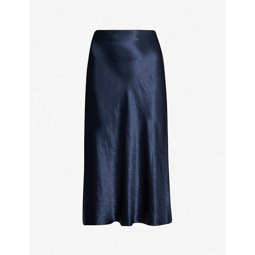 ヴィンス VINCE レディース ひざ丈スカート スカート【Flared high-rise crushed satin midi skirt】COASTAL