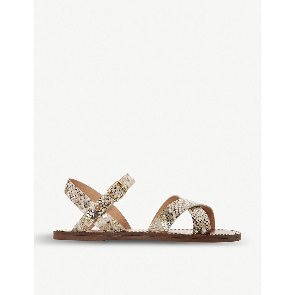 デューン DUNE レディース サンダル・ミュール シューズ・靴【Lavell cross-strap snakeskin-effect leather sandals】NATURAL-REPTILE