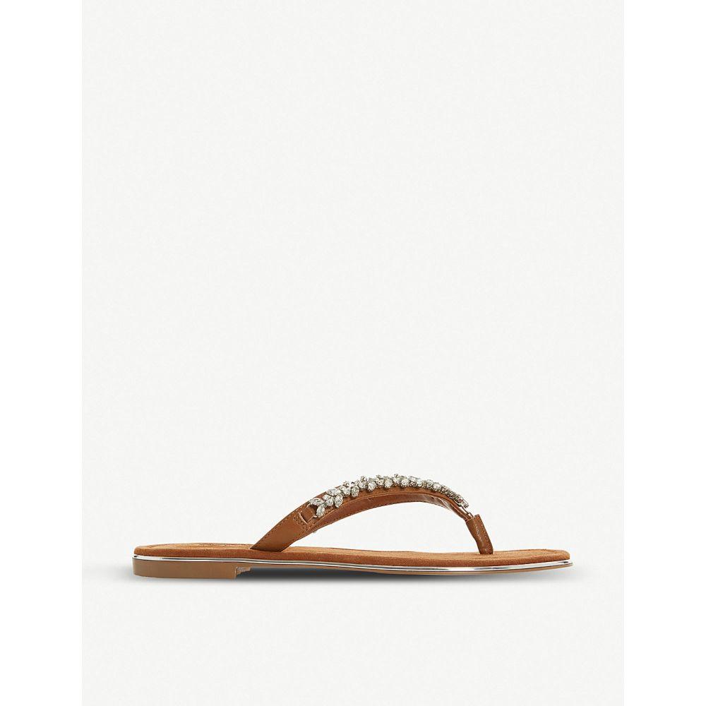 デューン DUNE レディース ビーチサンダル シューズ・靴【Newbey embellished leather flip-flops】TAN-LEATHER