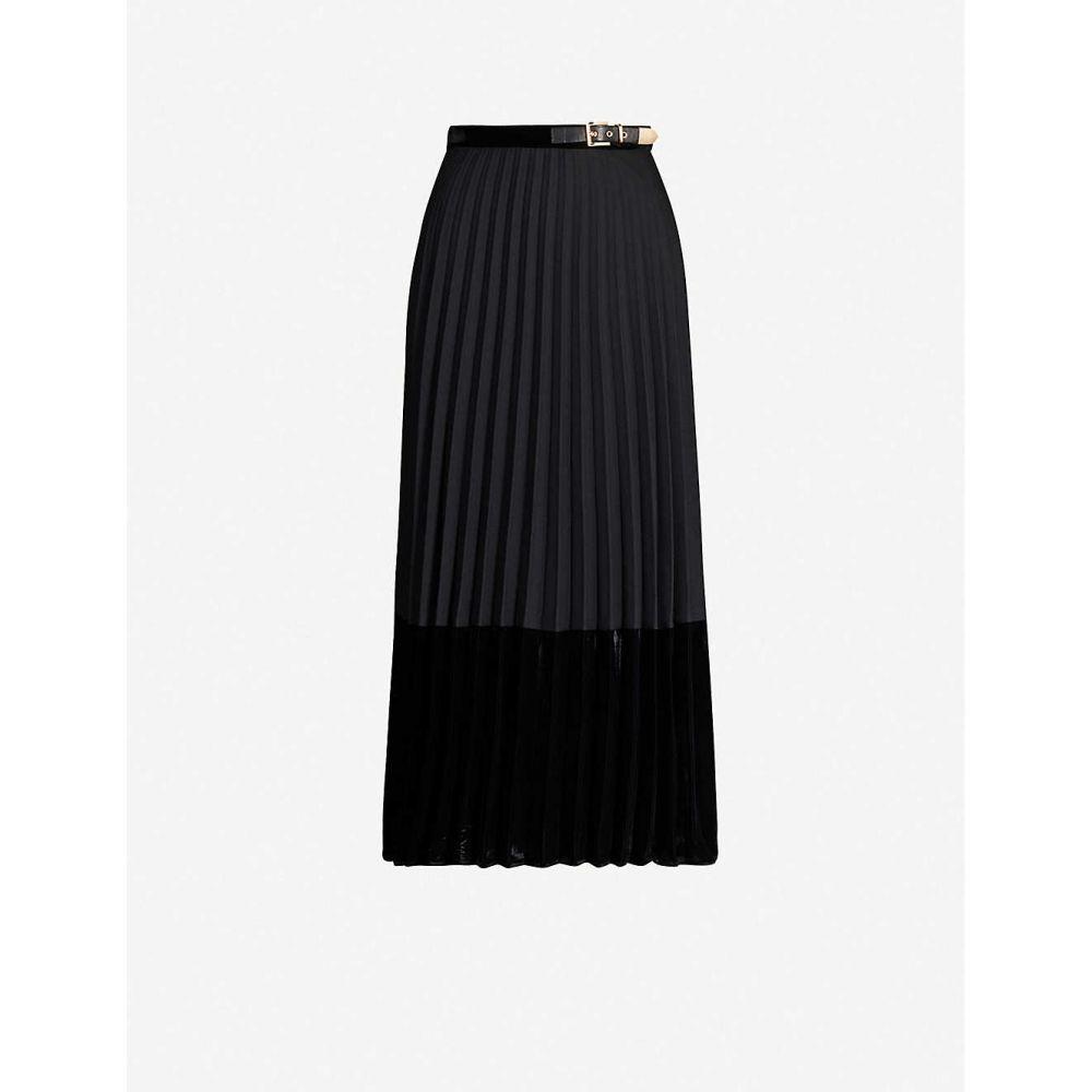 サンドロ SANDRO レディース ひざ丈スカート スカート【Pleated velvet skirt】Black