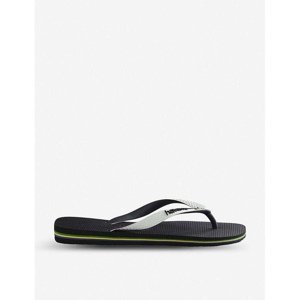 ハワイアナス HAVAIANAS レディース ビーチサンダル シューズ・靴【Logo-embellished rubber flip-flops】Brasil mix black/whi