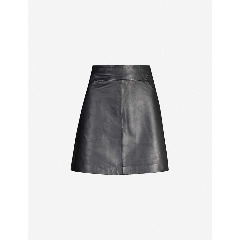 ホイッスルズ WHISTLES レディース ミニスカート スカート【A-line leather mini skirt】Black