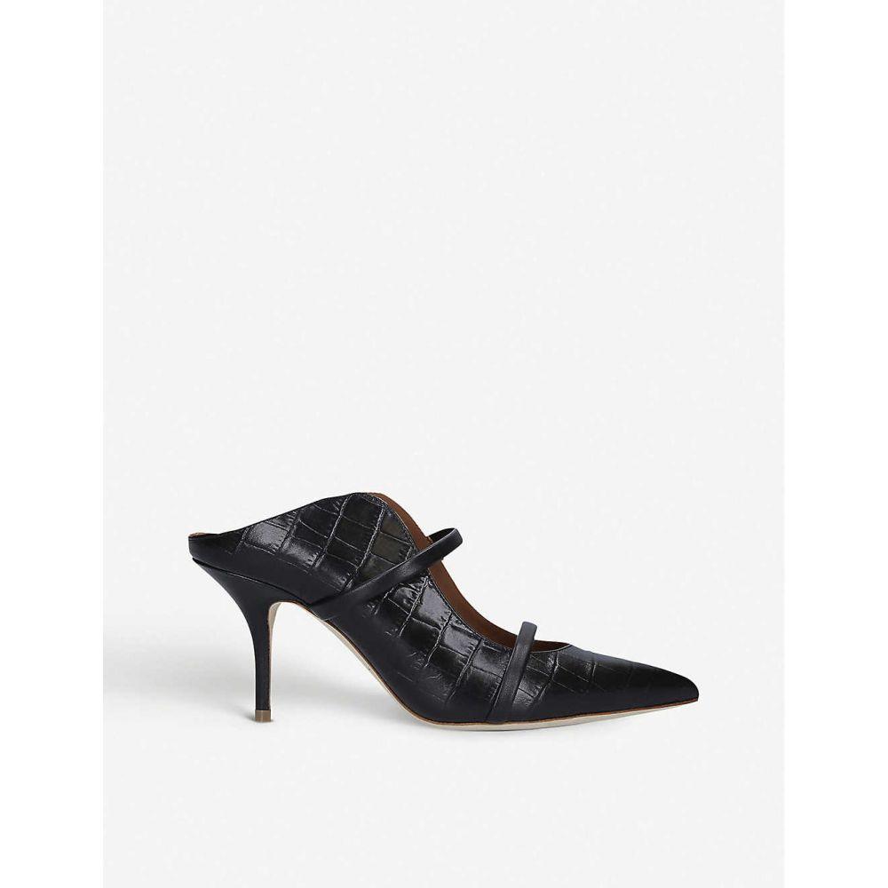 マローンスリアーズ MALONE SOULIERS レディース サンダル・ミュール シューズ・靴【Maureen 70 croc-effect leather heeled mules】BLACK