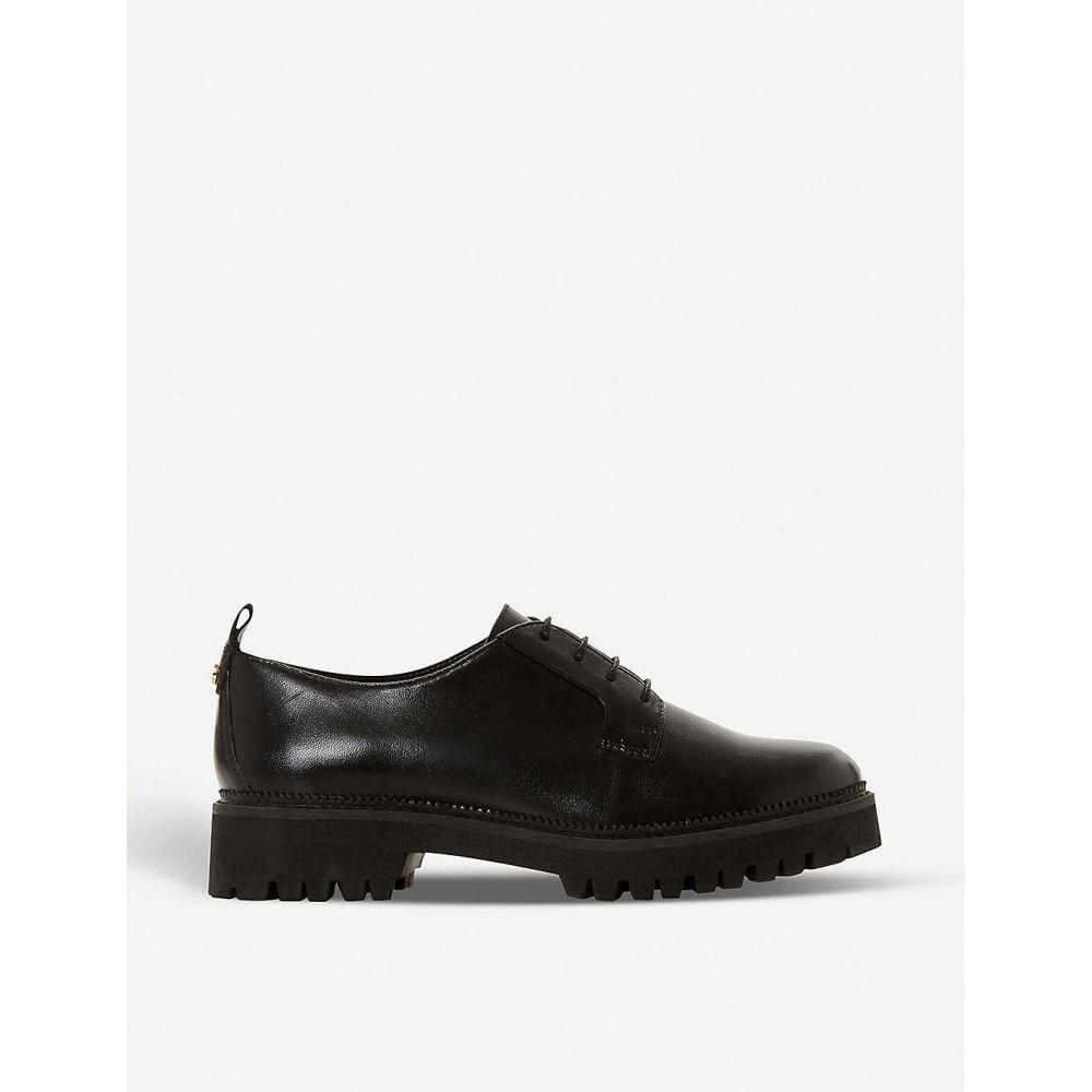 デューン DUNE レディース ローファー・オックスフォード メダリオン シューズ・靴【Fate leather brogues】Black-leather
