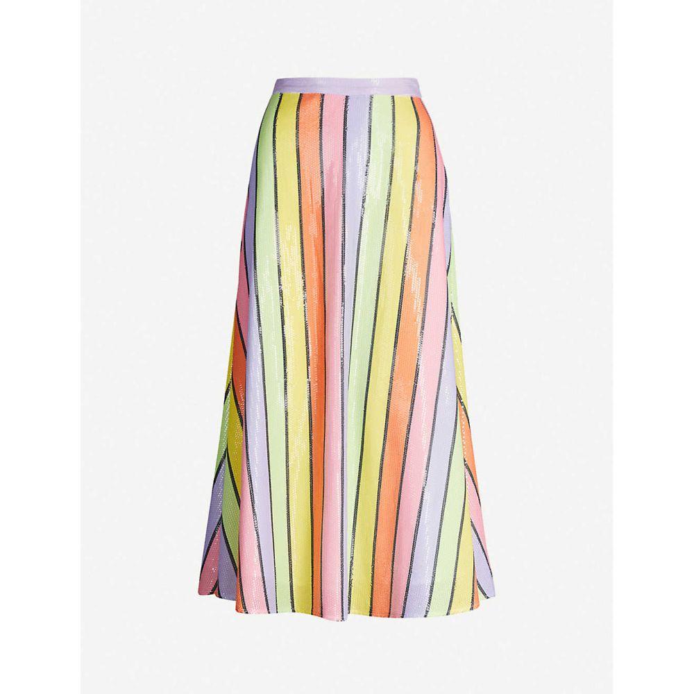 オリビアルービン OLIVIA RUBIN レディース ひざ丈スカート スカート【Penelope striped sequinned skirt】Resort Stripe