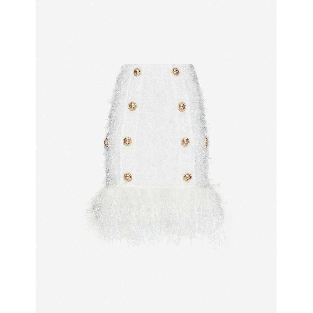 バルマン BALMAIN レディース ミニスカート スカート【High-waist boucle skirt】WHITE