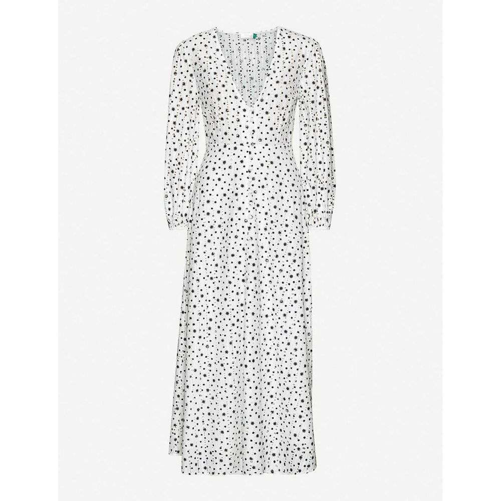 リキソ RIXO レディース ロング・マキシ丈スカート スカート【Blair star-print broderie-anglaise cotton maxi dress】Mini Star White Black