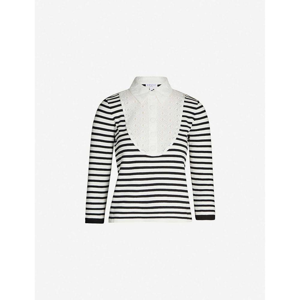 クローディ ピエルロ CLAUDIE PIERLOT レディース ニット・セーター トップス【Striped floral-lace cotton-knit jumper】Navy