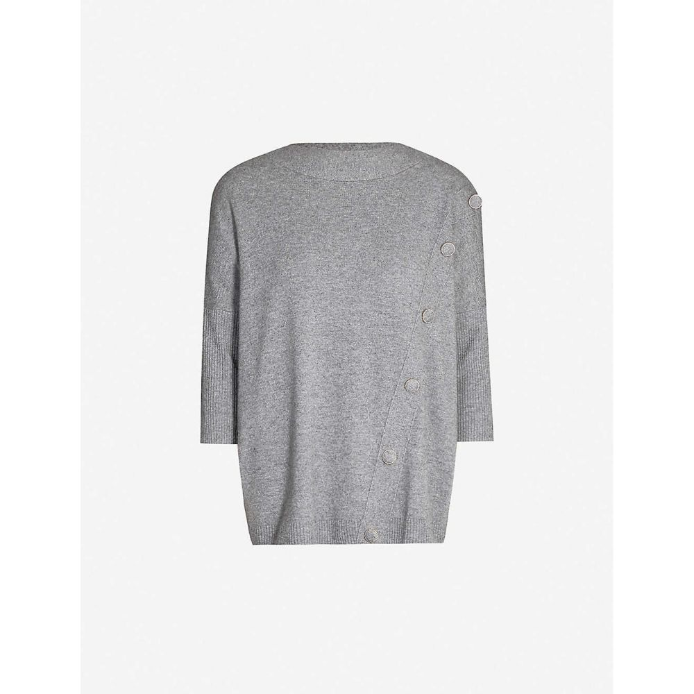 クローディ ピエルロ CLAUDIE PIERLOT レディース ニット・セーター トップス【Asymmetric button-front knitted jumper】Gris chine fonce