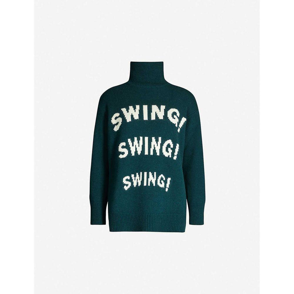 サンドロ SANDRO レディース ニット・セーター トップス【Swing-intarsia turtleneck woven jumper】Green