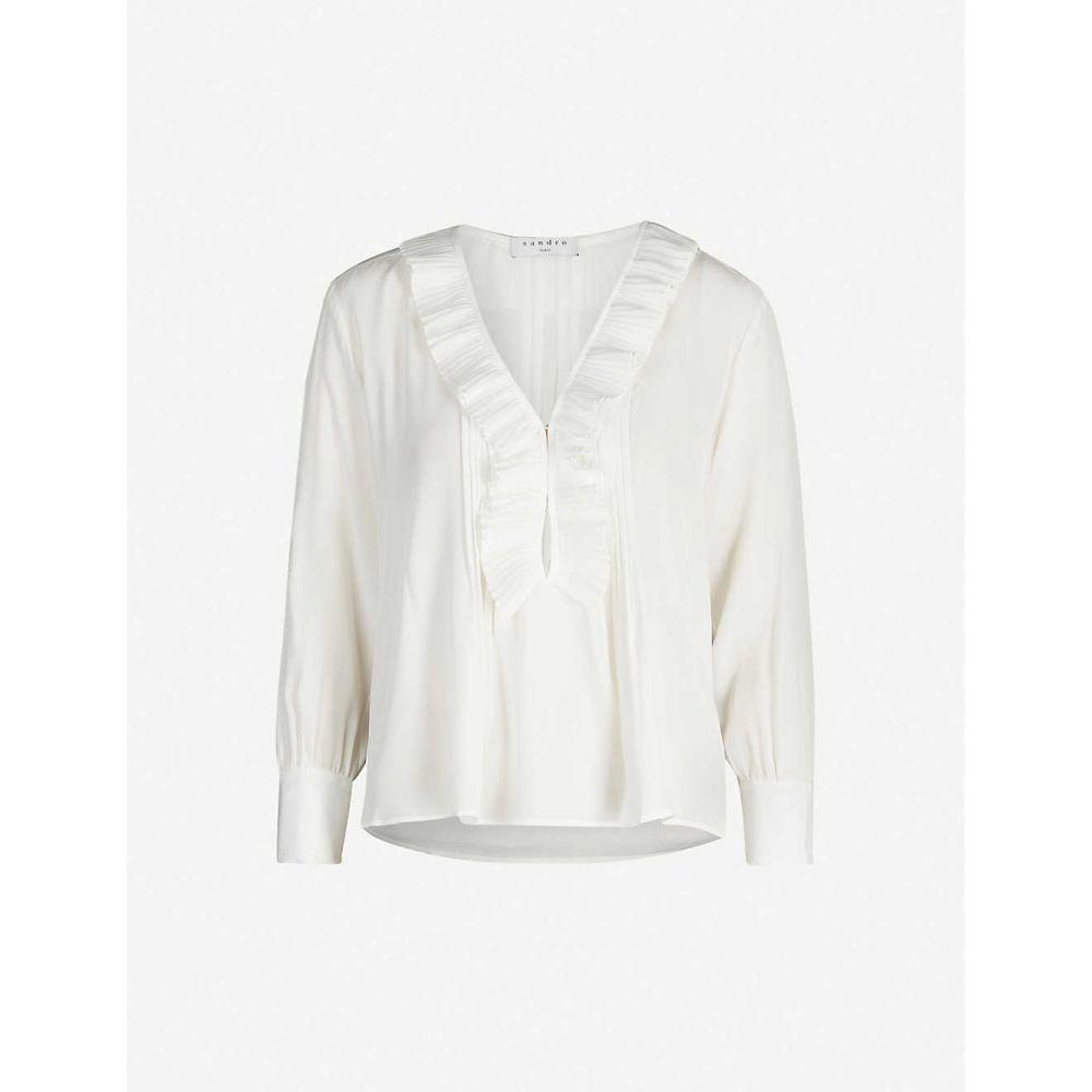 サンドロ SANDRO レディース ブラウス・シャツ トップス【Andi frilled silk blouse】Ecru