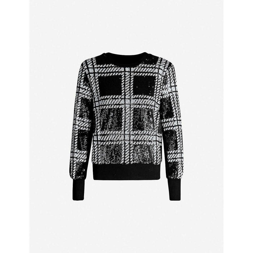 テッドベーカー TED BAKER レディース スウェット・トレーナー トップス【Catiya checked-pattern sequins sweatshirt】BLACK