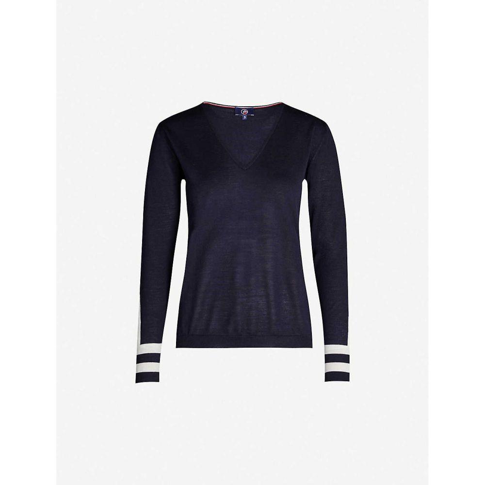 フザルプ FUSALP レディース ニット・セーター Vネック トップス【Taysse V-neck knitted jumper】Dark blue