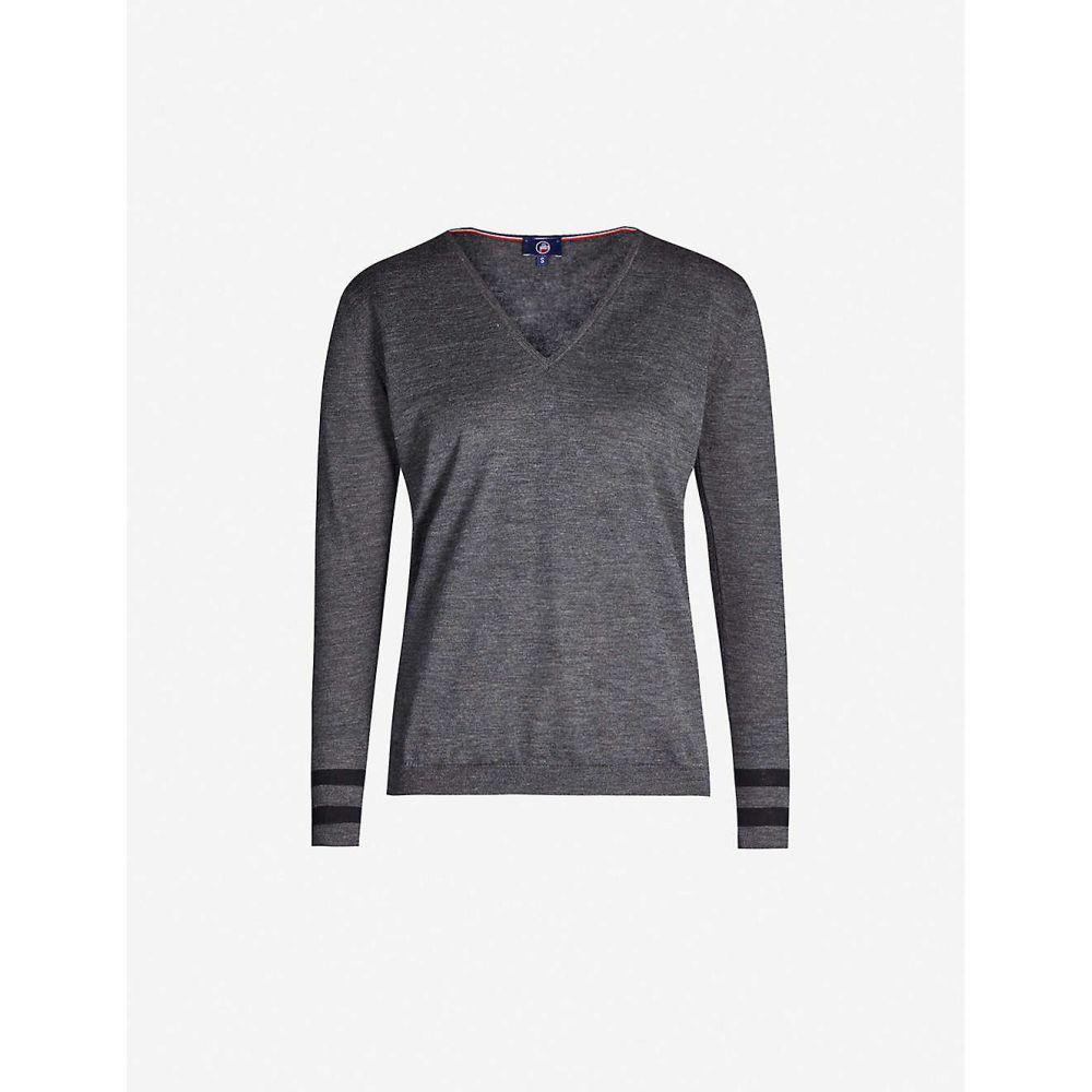 フザルプ FUSALP レディース ニット・セーター Vネック トップス【Taysse V-neck knitted jumper】Etain
