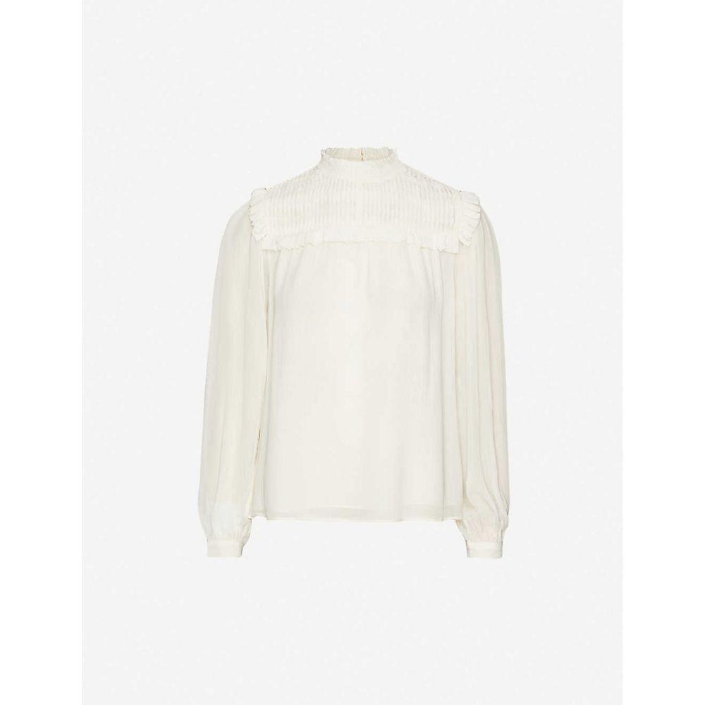 リース REISS レディース ブラウス・シャツ トップス【Anoushka frilled-trim crepe blouse】IVORY