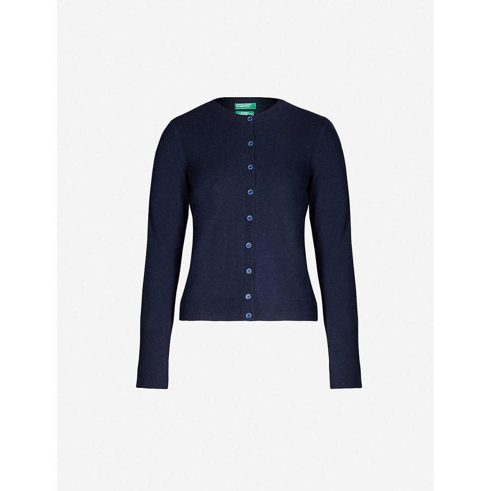 ベネトン BENETTON レディース カーディガン トップス【Round-neck wool-blend cardigan】navy blue
