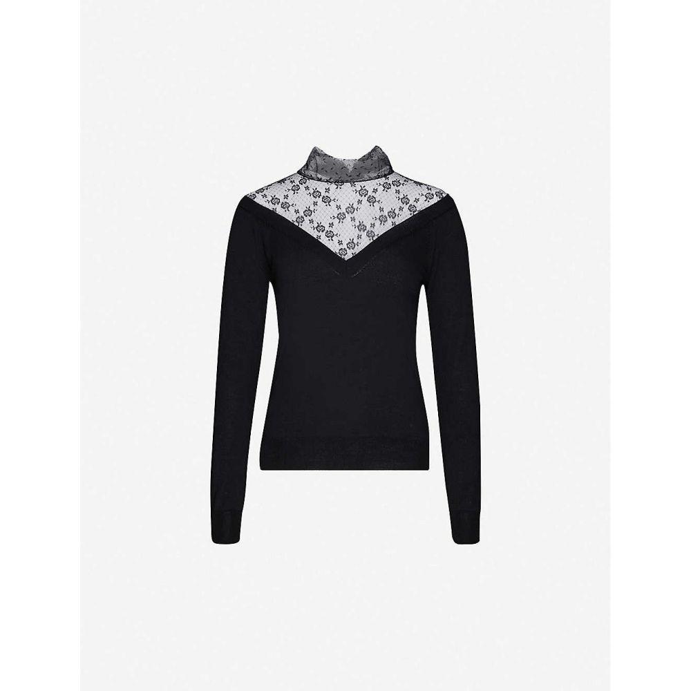 ヴァレンティノ RED VALENTINO レディース ニット・セーター トップス【Floral lace-panelled wool jumper】NERO