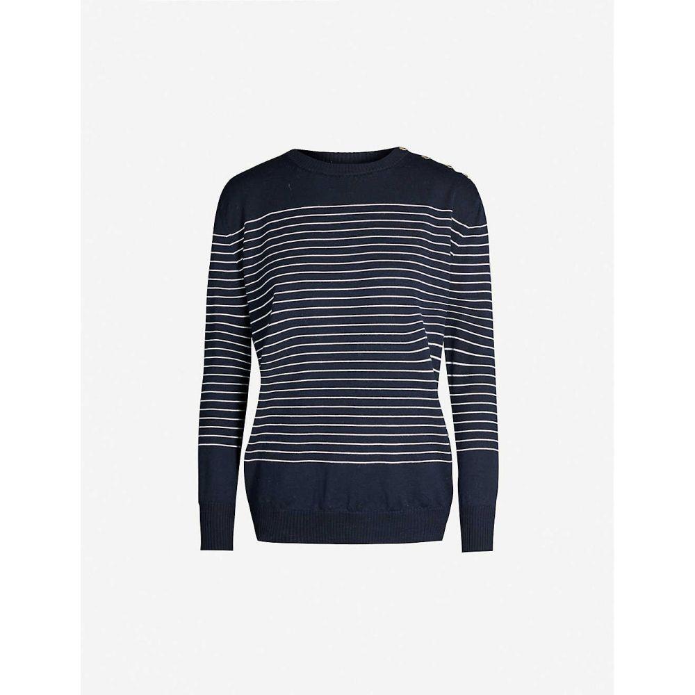 マックスマーラ MAX MARA レディース ニット・セーター トップス【Max Mara Navona striped knitted jumper】Fondo Blu Riga Bianco