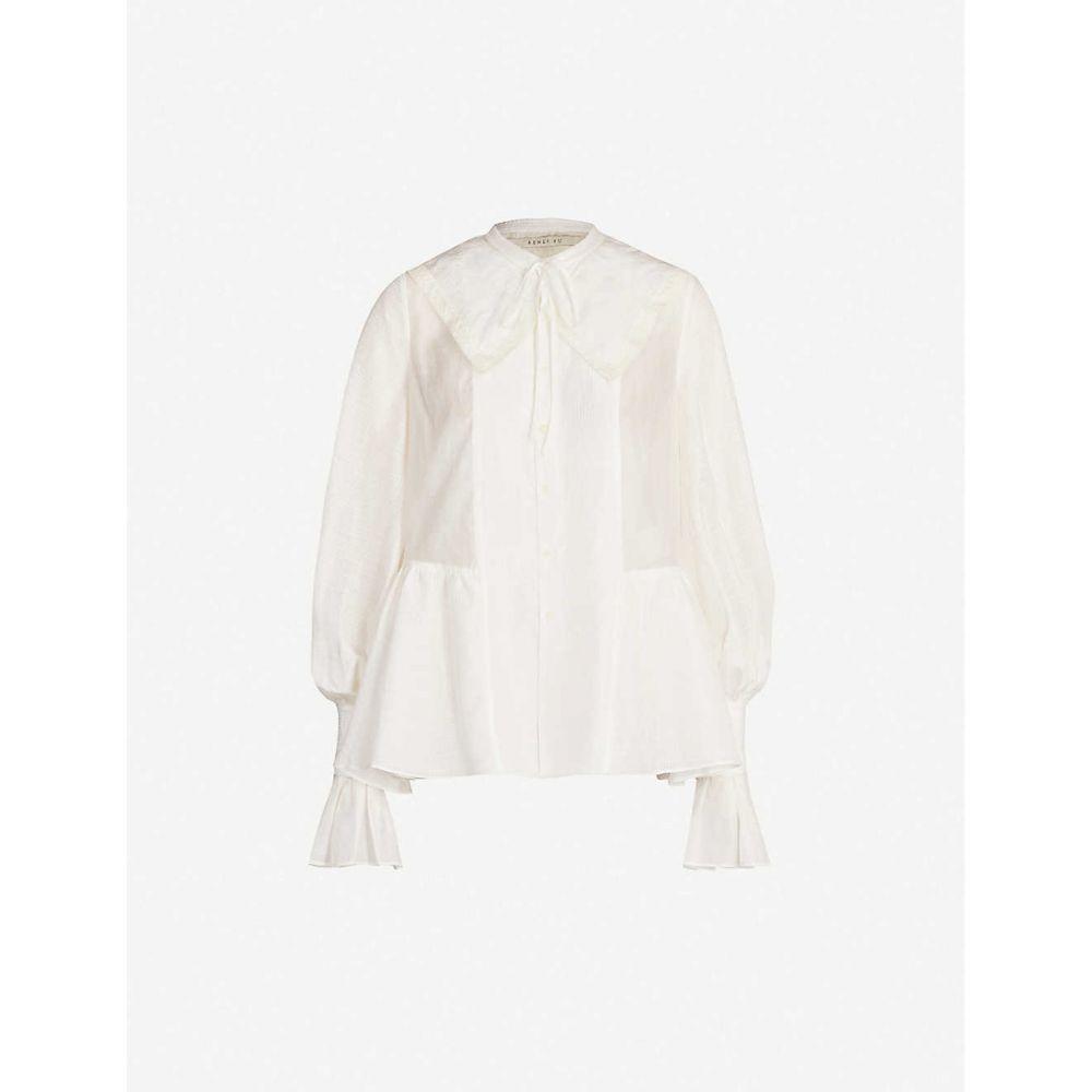 レンリ スー RENLI SU レディース ブラウス・シャツ トップス【Oversized-collar flared-cuff silk and linen-blend blouse】White