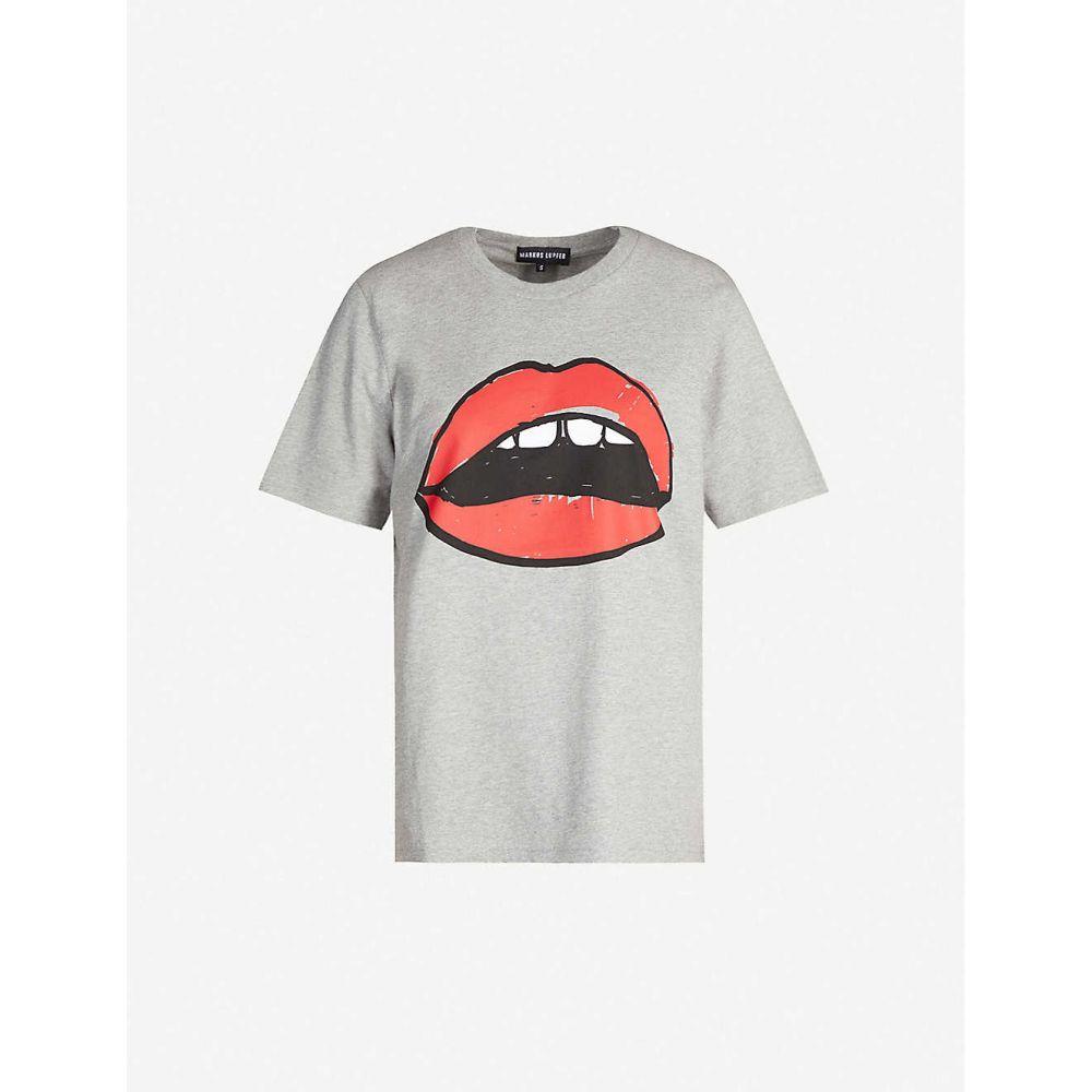 マーカス ルーファー MARKUS LUPFER レディース Tシャツ トップス【Alex Lara lip cotton-jersey T-shirt】GREY/RED