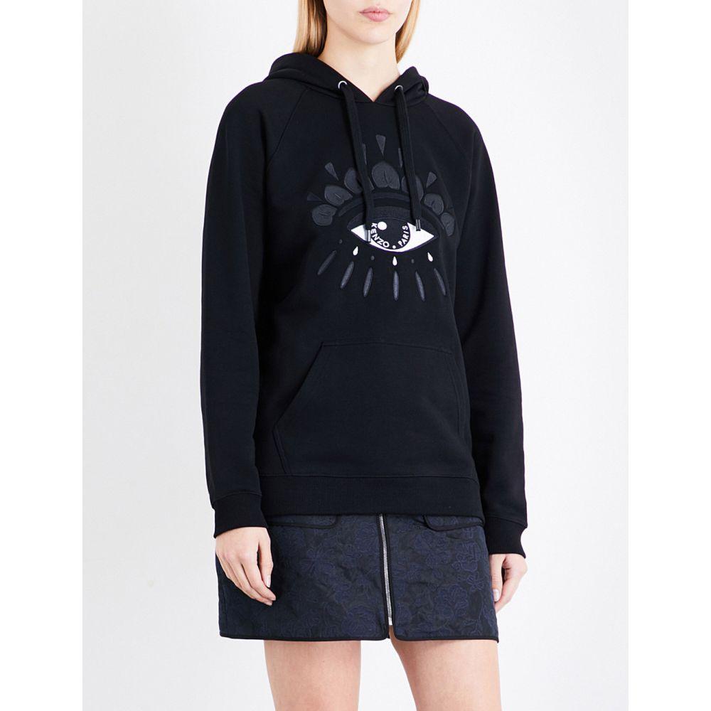 ケンゾー KENZO レディース パーカー トップス【Evil eye-embroidered cotton-jersey hoody】BLACK