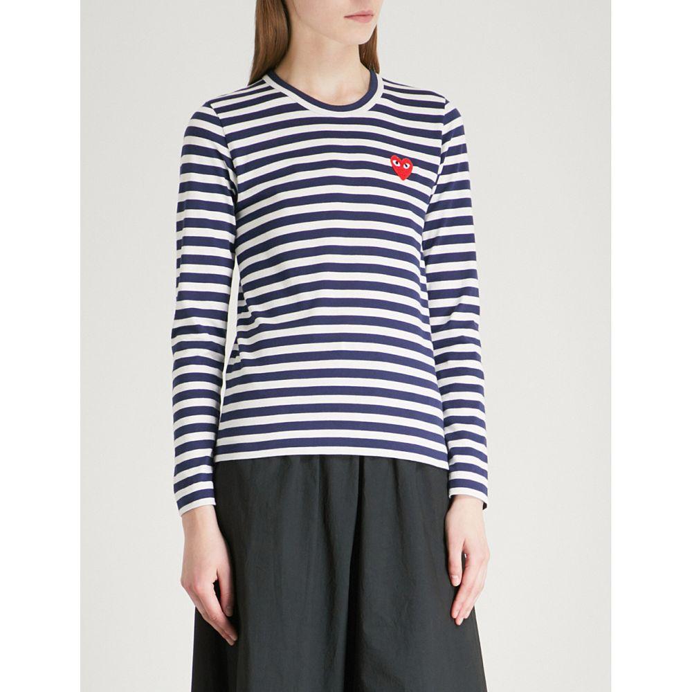 コム デ ギャルソン COMME DES GARCONS PLAY レディース トップス 【Heart-embroidered striped cotton-jersey top】NAVY/WHITE:フェルマート