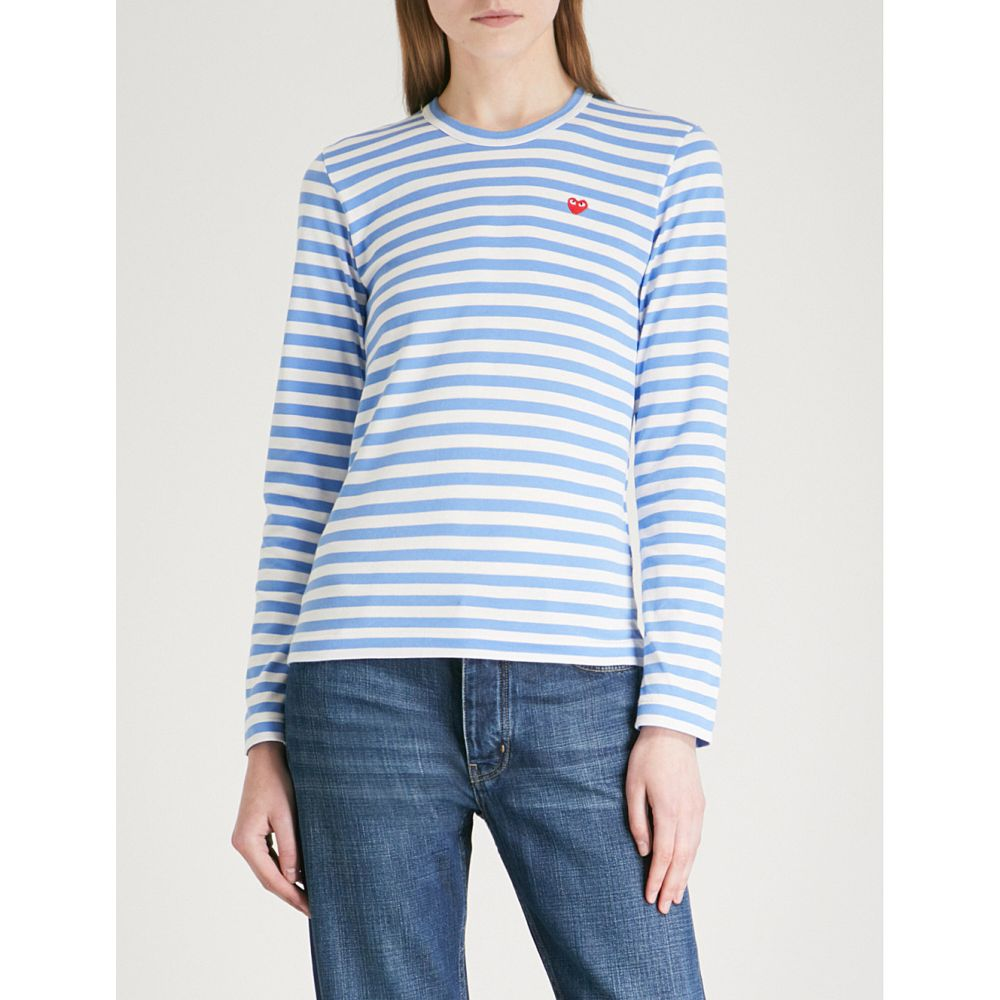 コム デ ギャルソン COMME DES GARCONS PLAY レディース トップス 【Heart-embroidered striped cotton-jersey top】BLUE