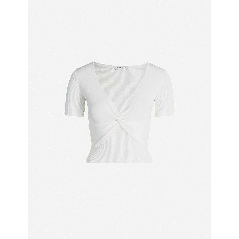 サンドロ SANDRO レディース ニット・セーター トップス【Serena stretch-knit crop jumper】White