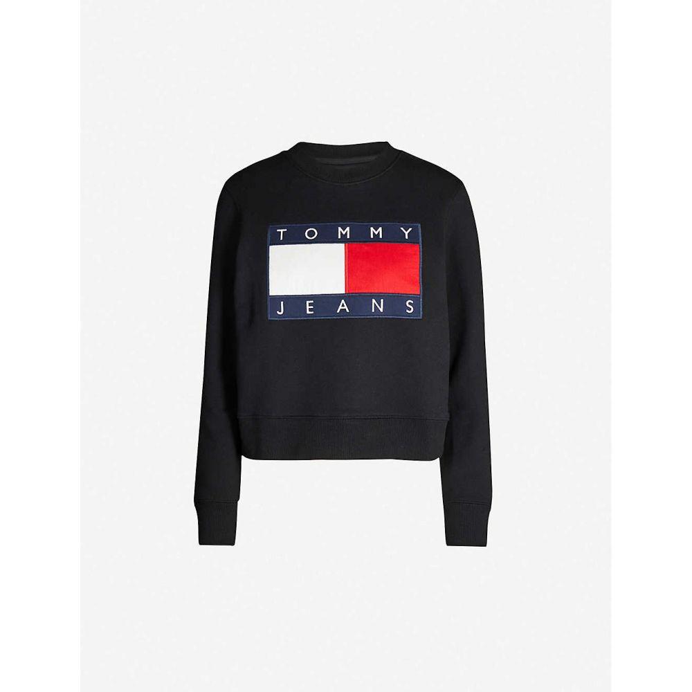 トミー ジーンズ TOMMY JEANS レディース スウェット・トレーナー トップス【Logo-embroidered cotton-jersey sweatshirt】Tommy black