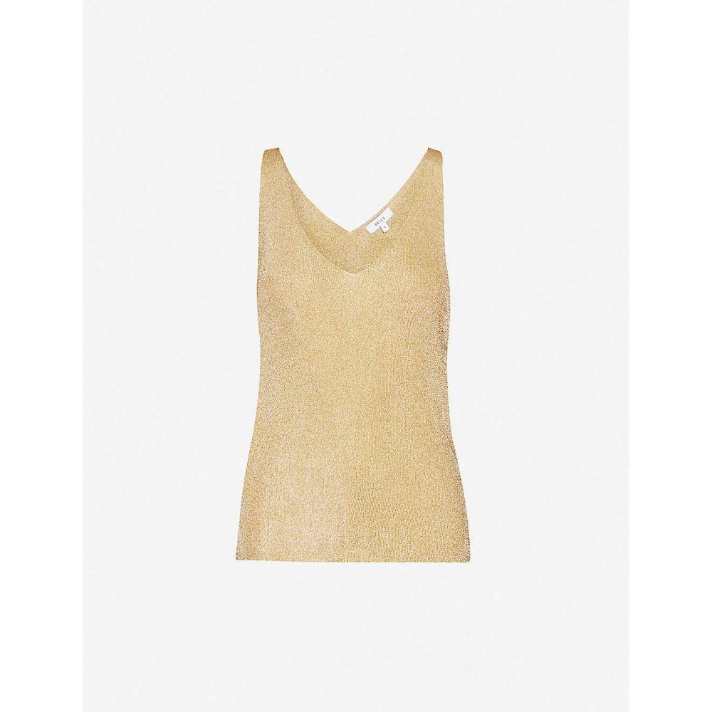 リース REISS レディース ノースリーブ トップス【Alexis sleeveless metallic-knit top】GOLD