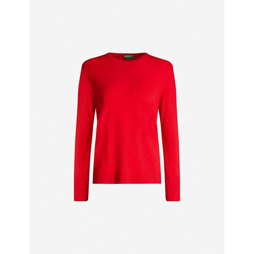 ベネトン BENETTON レディース ニット・セーター トップス【Crewneck wool and cashmere-blend jumper】Red