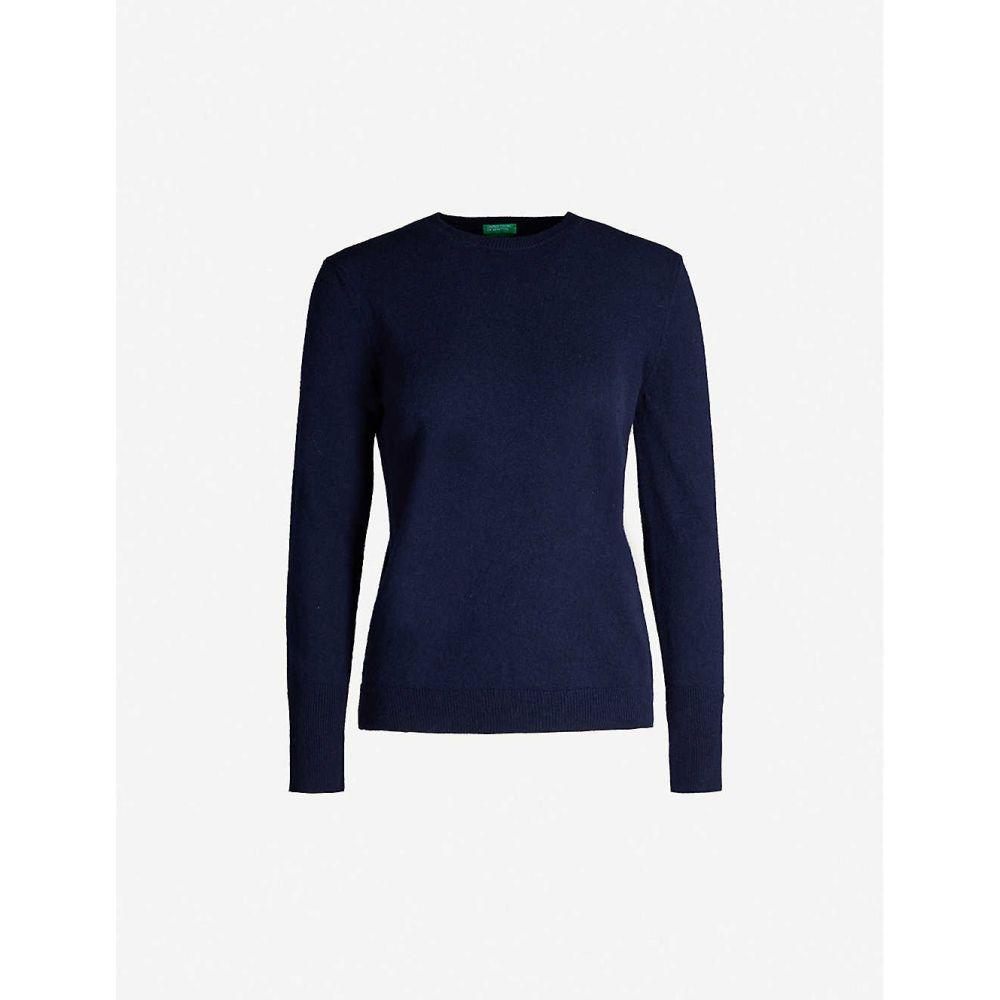 ベネトン BENETTON レディース ニット・セーター トップス【Crewneck wool and cashmere-blend jumper】Navy blue