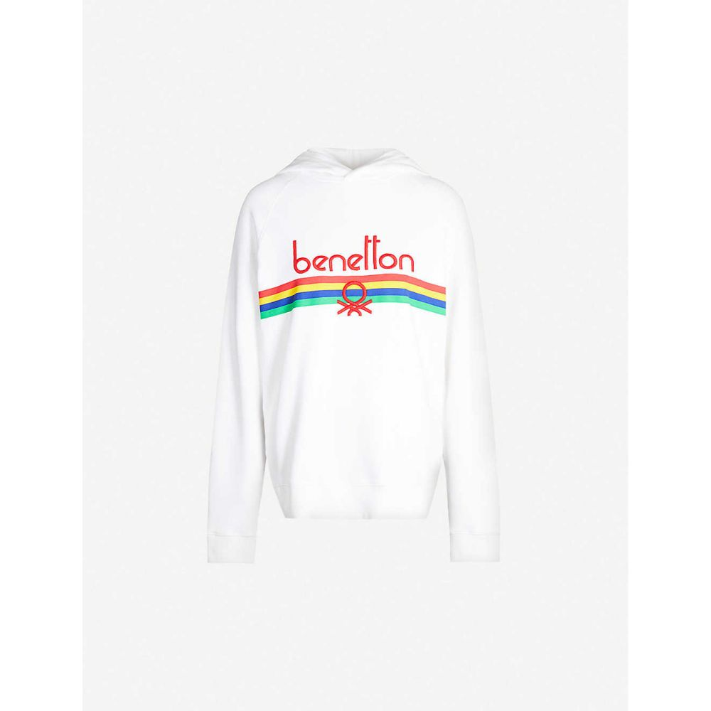 ベネトン BENETTON レディース パーカー トップス【Logo-embroidered cotton-jersey hoody】white with multi