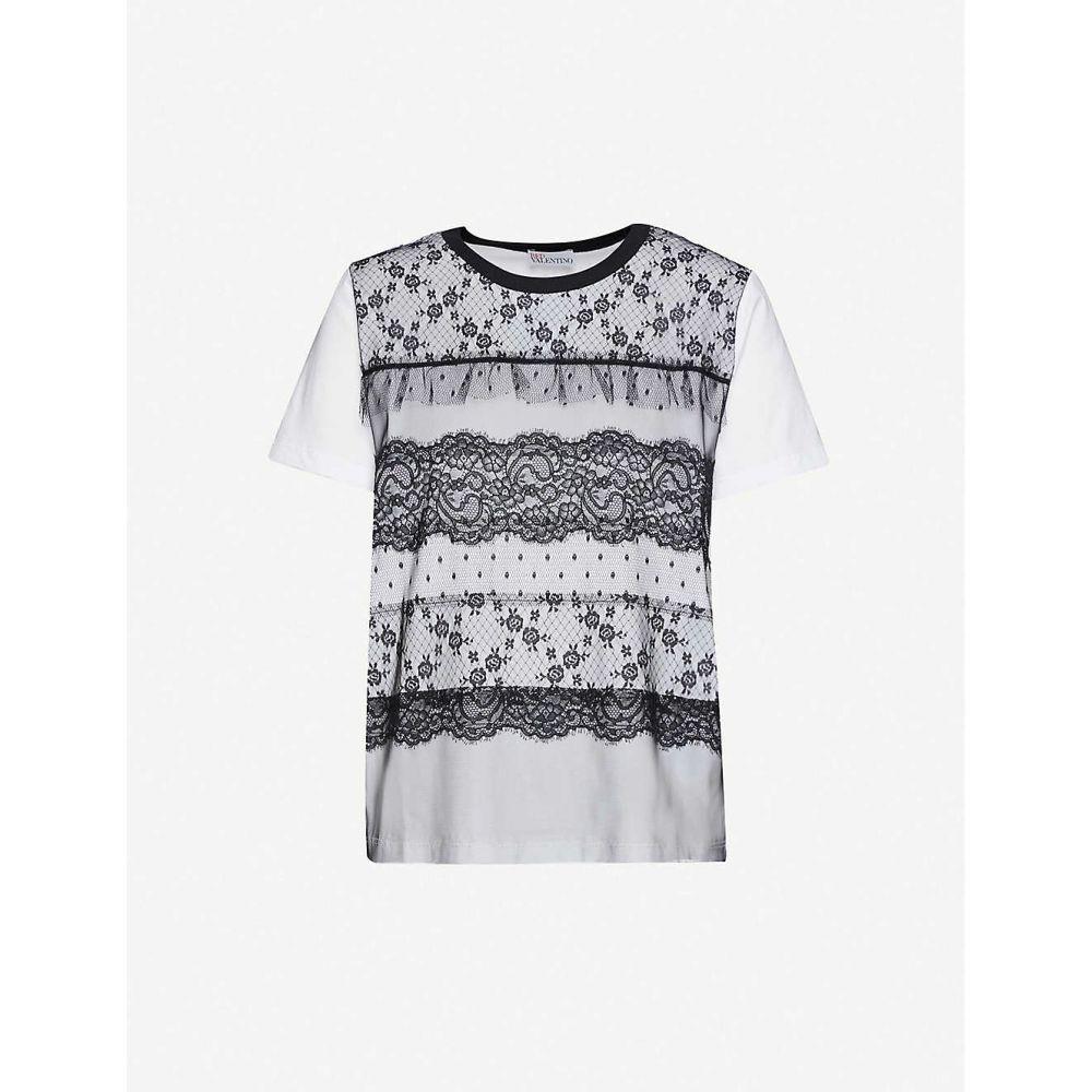 ヴァレンティノ RED VALENTINO レディース Tシャツ トップス【Lace-overlay cotton-jersey T-shirt】Bianco Nero