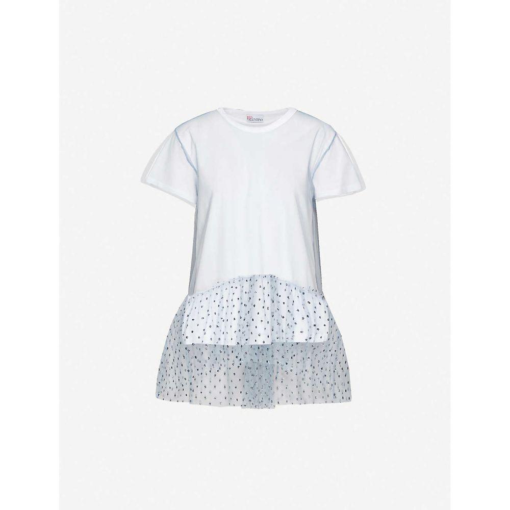 ヴァレンティノ RED VALENTINO レディース Tシャツ トップス【Sequin-embellished sheer-overlay cotton-jersey T-shirt】Bianco Nube