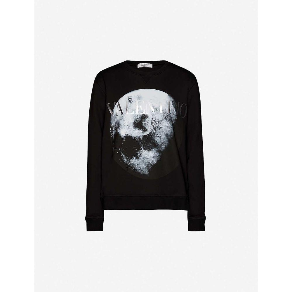 ヴァレンティノ VALENTINO レディース スウェット・トレーナー トップス【Moon-print cotton-blend jersey sweatshirt】BLACK SILVER