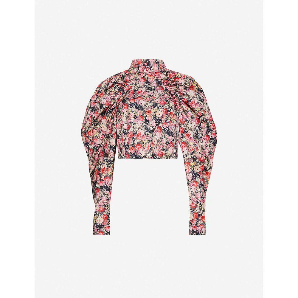 ローテート ROTATE BIRGER CHRISTENSEN レディース ブラウス・シャツ トップス【Kim floral-print satin-crepe blouse】Whitecap Gray Aop