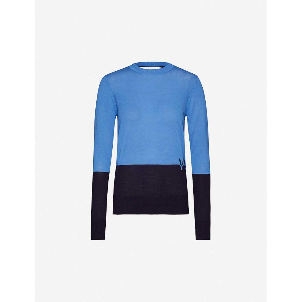 ヴィクトリア ベッカム VICTORIA VICTORIA BECKHAM レディース ニット・セーター トップス【Logo-intarsia wool jumper】Steel Blue