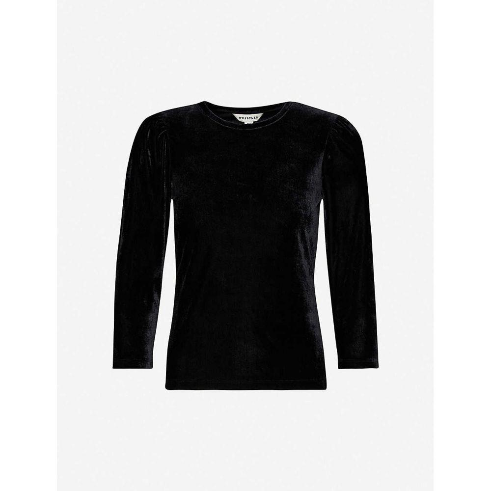 ホイッスルズ WHISTLES レディース トップス 【Puff sleeve velvet top】Black