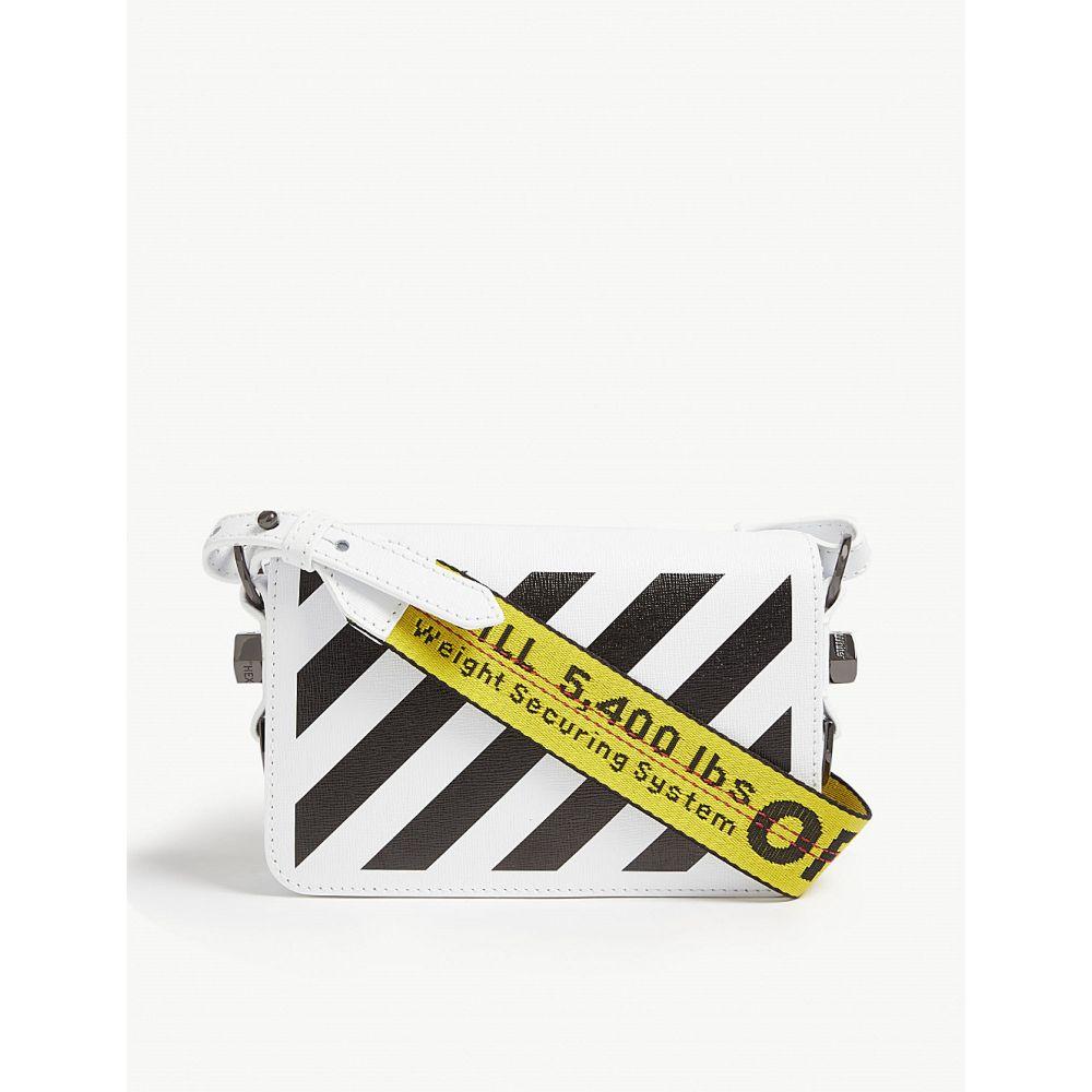 オフホワイト OFF-WHITE C/O VIRGIL ABLOH レディース ショルダーバッグ バッグ【Striped mini leather cross-body bag】White Black