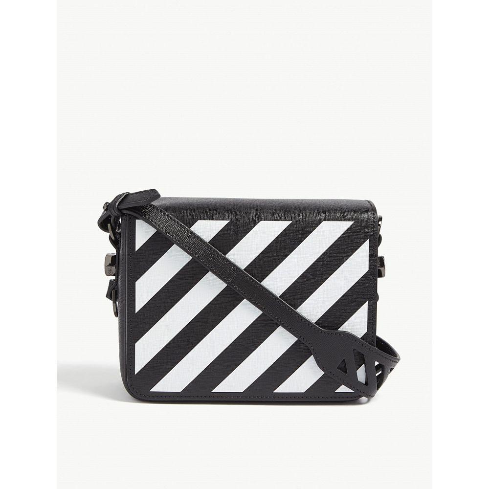 オフホワイト OFF-WHITE C/O VIRGIL ABLOH レディース ショルダーバッグ バッグ【Diagonal stripe leather cross-body bag】BLACK WHITE