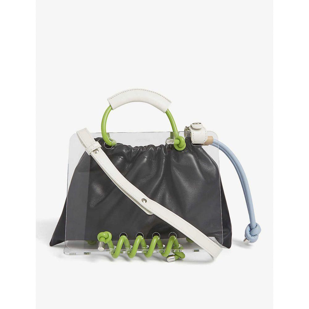 スコトリア SCOTRIA レディース トートバッグ バッグ【Panorama plexiglass and leather tote】Black & Lime