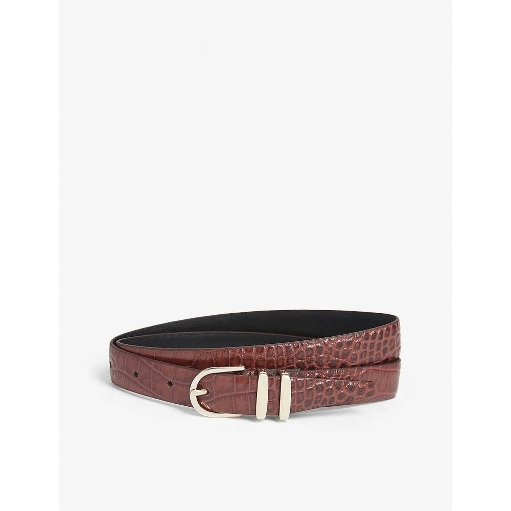 リース REISS レディース ベルト 【Kia croc-embossed leather belt】Chocolate