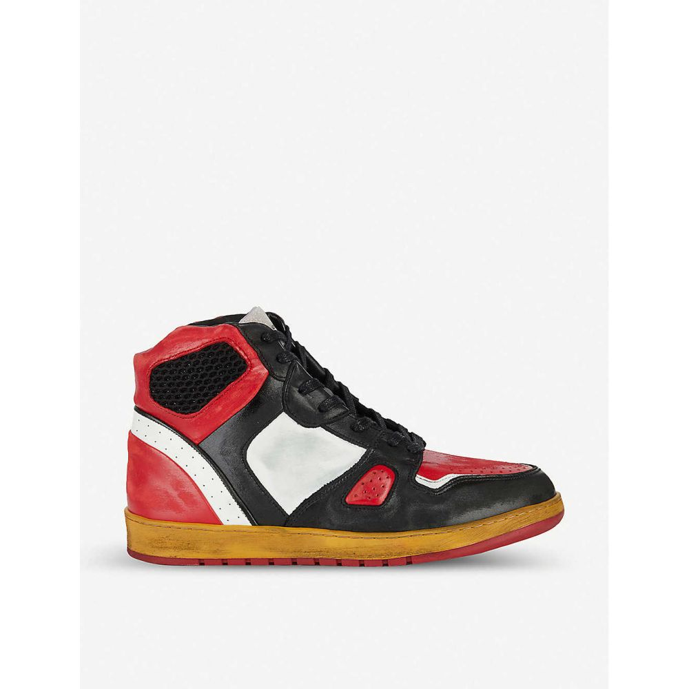 ANDRIOD ALES GREY メンズ スニーカー シューズ・靴【Battalion high top leather trainers】Red/dark