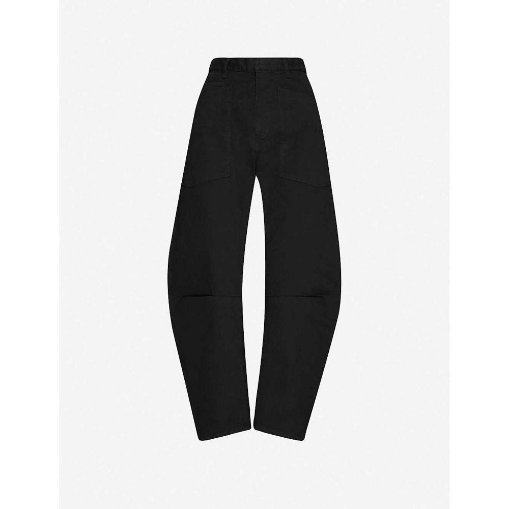 ニリ ロータン NILI LOTAN レディース クロップド ボトムス・パンツ【Straight-leg high-rise stretch-cotton cropped trousers】Jet Black