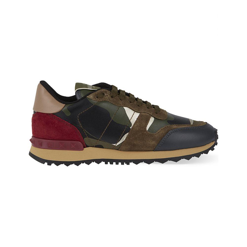 ヴァレンティノ VALENTINO レディース スニーカー シューズ・靴【Camouflage-print leather trainers】Khaki