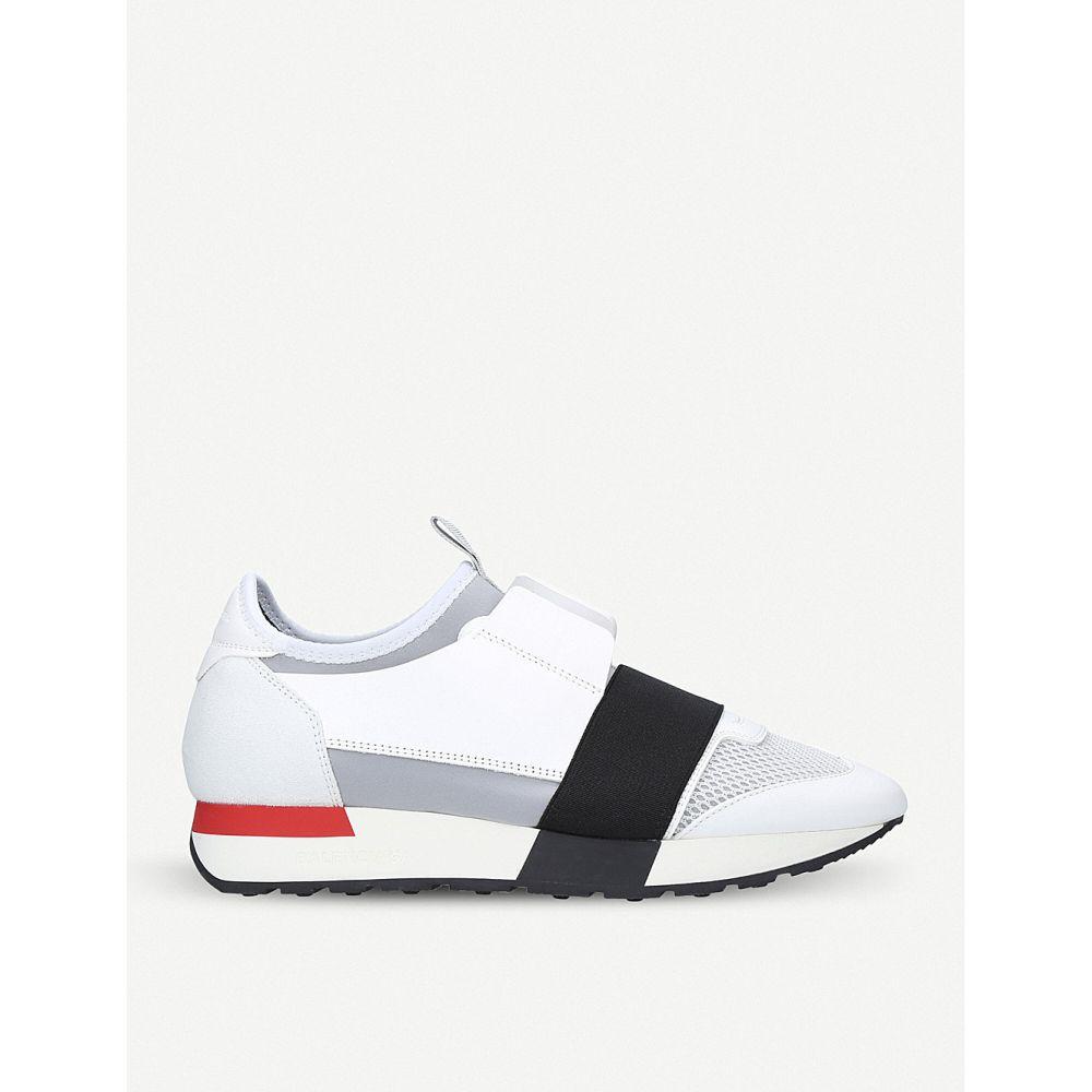 バレンシアガ BALENCIAGA レディース スニーカー シューズ・靴【Race Runners mesh, leather and knitted low-top trainers】White