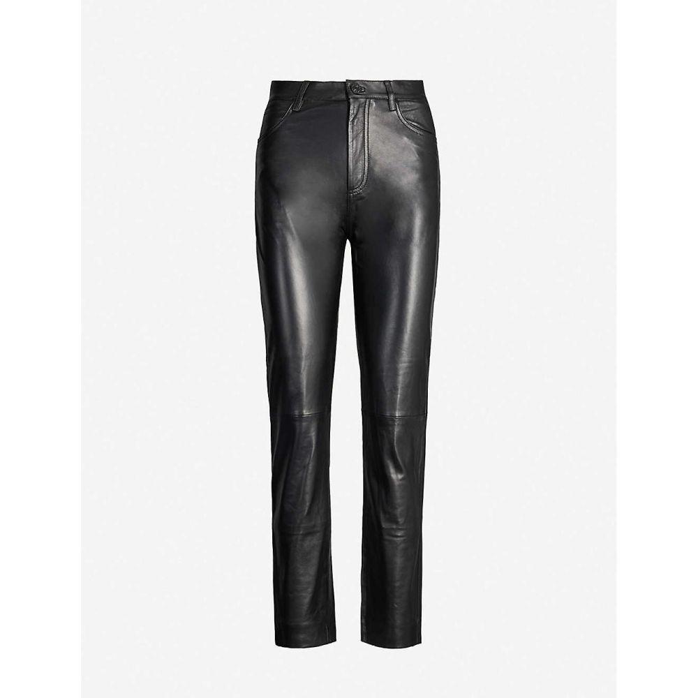 サンドロ SANDRO レディース スキニー・スリム ボトムス・パンツ【Slim-fit high-rise leather trousers】Black