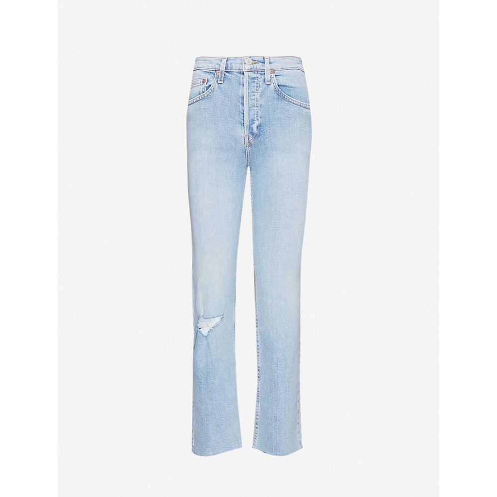 リダン RE/DONE レディース ジーンズ・デニム ボトムス・パンツ【Stove Pipe cropped straight high-rise jeans】CLOUDY BLUE