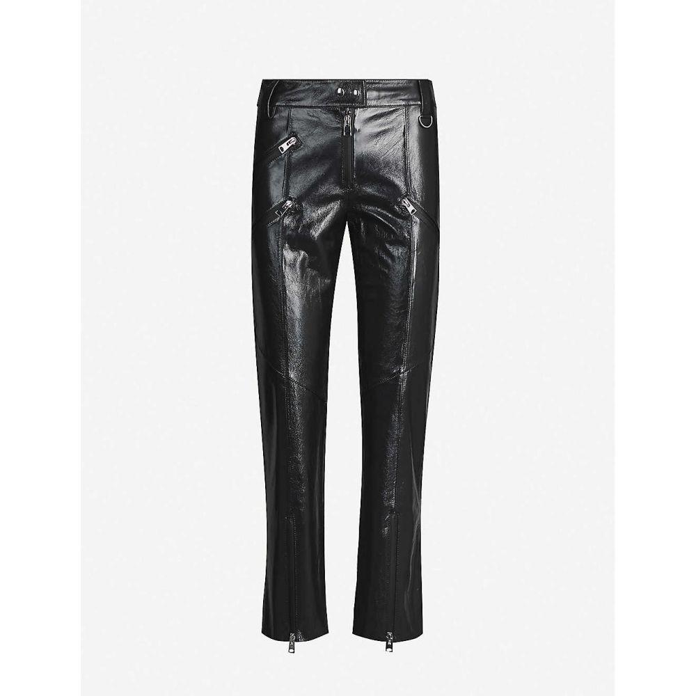 ショーディッチ スキー クラブ SHOREDITCH SKI CLUB レディース ボトムス・パンツ 【Hanbury straight leather trousers】Off Black